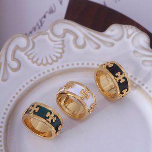 Tory Burch Enamel Logo Fashion Style Ring